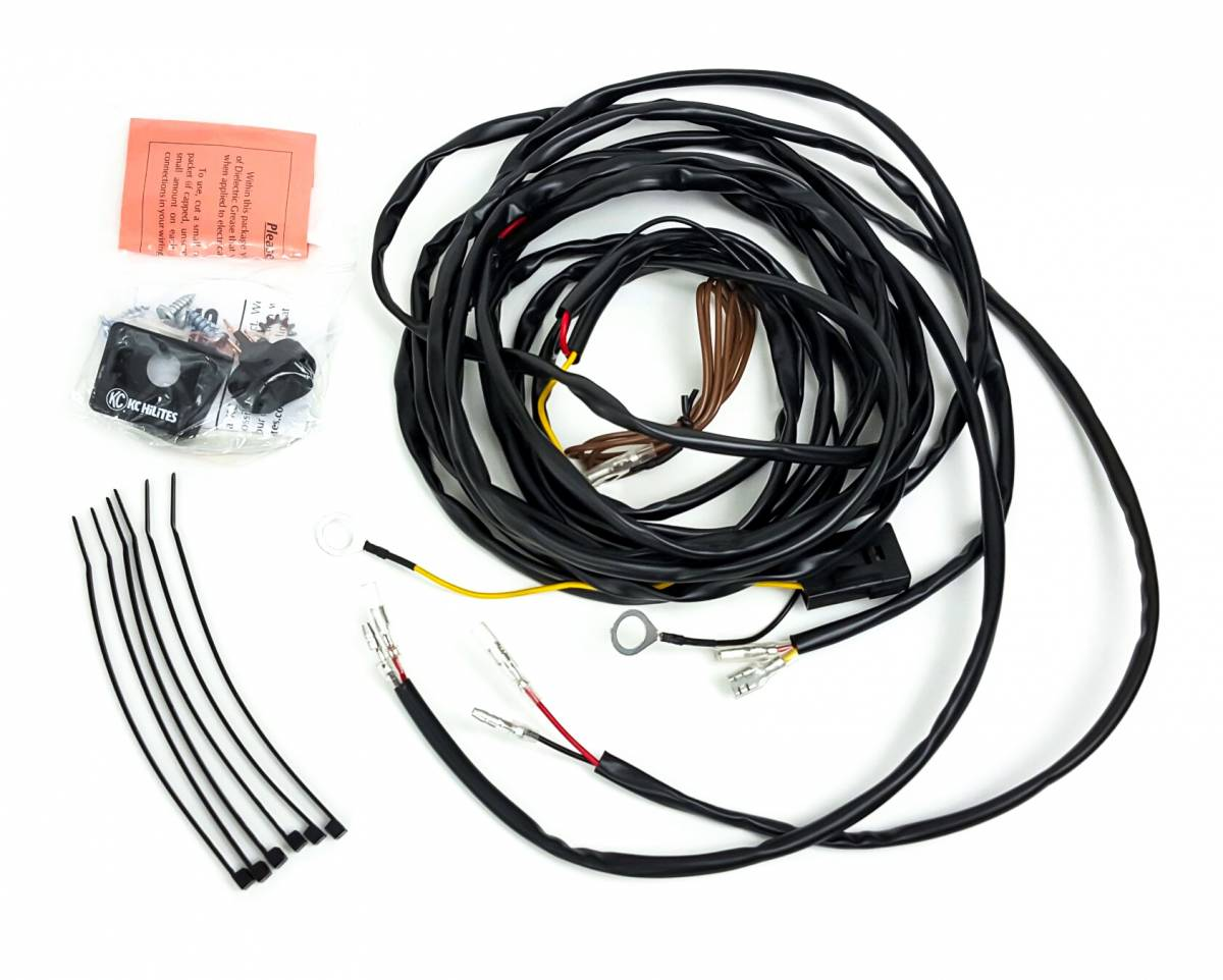 kc hilites 63082 universal wiring harness for 2 cyclone led lights rh millerrockracing com kc wiring harness diagram kc 4213 wiring harness