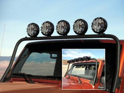 KC HiLiTES - KC HiLiTES 5-Tab Overhead Light Bar for Jeep Wrangler JK (2007-2016) - Black - KC #7417 7417