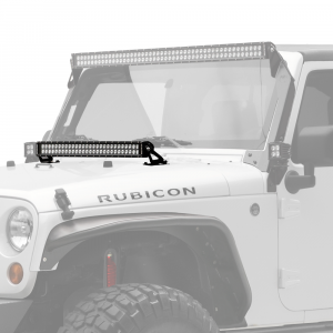 "Accessories - Lighting - KC HiLiTES - KC HiLiTES 30"" C-Series C30 LED Bar & Hood Mount Bracket Kit - Jeep JK 07-16 - KC #367 367"